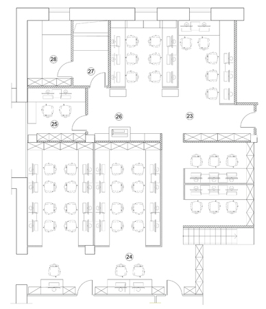 office room plan. Standard Furniture Symbols Used In Architecture Plans Icons Set, Office Planning Icon Graphic Room Plan E