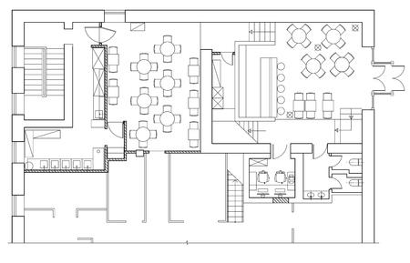 muebles símbolos estándar usados ??en la arquitectura planes de iconos conjunto, conjunto de iconos de la oficina de planificación, elementos de diseño gráfico. Pequeño café - los mejores planes de visión. vector aislado. Ilustración de vector