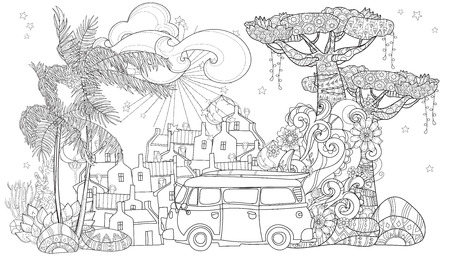 Hand drawn doodle outline palm tree, bus,cartoon city decorated with floral ornaments.Vector zen art illustration.Floral ornament.Sketch for tattoo, poster or adult coloring pages.Boho style.