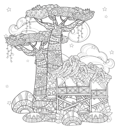 Hand drawn doodle outline baobab tree, fairy cartoon city , decorated with floral ornaments.Vector zen art illustration.Sketch for tattoo, poster or adult coloring pages.Boho style. Stock Illustratie