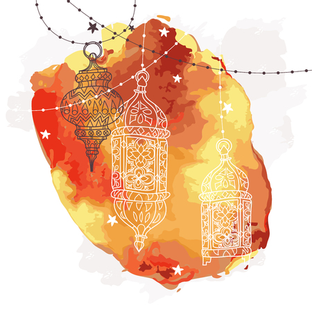 traditional events: Eid Mubarak background. Eid Mubarak - traditional Muslim greeting. Festive hanging watercolor arabic lamps. Greeting card or invitation for Muslim Community events. Vector illustration.