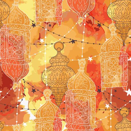 Eid Mubarak background. Eid Mubarak - traditional Muslim greeting. Seamless pattern.Festive hanging watercolor arabic lamps. Greeting card or invitation Vector illustration.