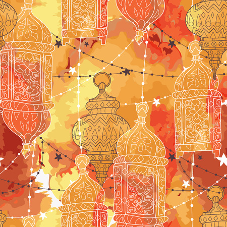 Eid Mubarak background. Eid Mubarak - traditional Muslim greeting. Seamless pattern.Festive hanging watercolor arabic lamps. Greeting card or invitation Vector illustration.
