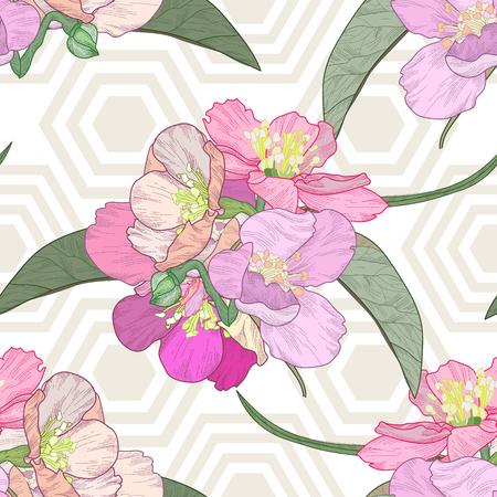 japanese apricot: Blooming plum tree hand drawn illustration.Retro vintage boho doodle.Seamless pattern geometrical black background.