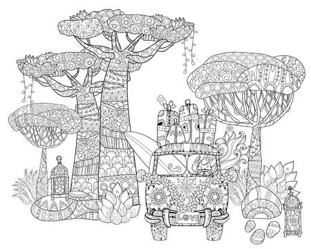 doodle outline tropical tree, surf bus decorated with floral ornaments.zen art illustration.Floral ornament.Sketch for tattoo, poster or adult coloring pages.Boho style.