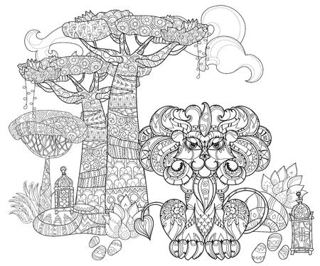 Doodle Del Contorno Del árbol Tropical, León Decorado Con Arte ...