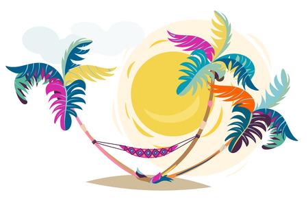 Palm trees sunset cartoon illustration.