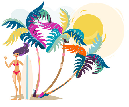 surf girl: Cute cartoon surf girl on the beach abstract illustration summer vacation on the sea.
