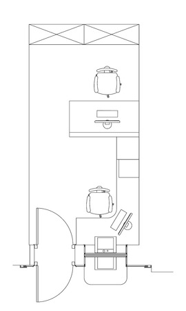 premise: Standard furniture symbols used in architecture plans icons set, office planning icon set, graphic design elements. Bank Office room - top floor view plans. isolated.