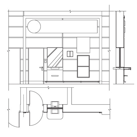 premise: Standard furniture symbols used in architecture plans icons set, office planning icon set, graphic design elements. Bank Office room - top floor view plans, section, front view. isolated.