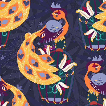 personages: Exotic tropical bird on cage with sea stars and flowers. The color  doodle for a card and a poster. Travel life illustration seamless pattern.