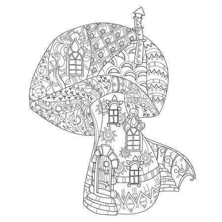Hand drawn doodle outline magic mushrooms decorated with floral ornaments.Floral ornament.Sketch for tattoo, poster, children or adult coloring pages.Boho style. 일러스트