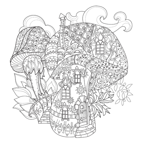 Hand drawn doodle outline magic mushrooms decorated with floral ornaments.Floral ornament.Sketch for tattoo, poster, children or adult coloring pages.Boho style. Stock Illustratie