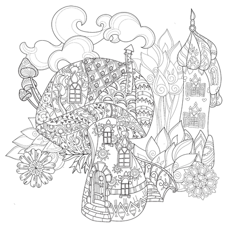 Hand drawn doodle outline magic mushrooms and fairy house decorated with floral ornaments.Floral ornament.Sketch for tattoo, children or adult coloring pages.Boho style.