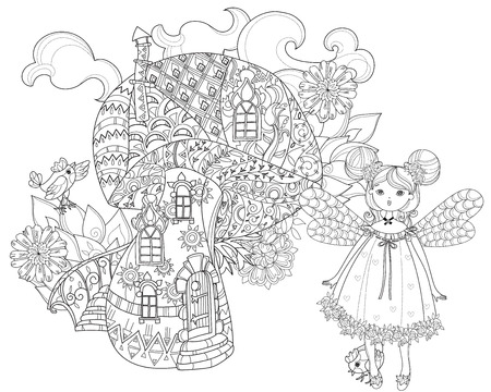 Hand drawn doodle outline magic mushrooms and fairy doll decorated with floral ornaments.Floral ornament.Sketch for tattoo, children or adult coloring pages.Boho style. Stock Illustratie
