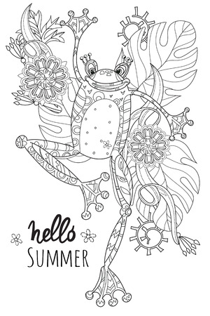 frog prince: Cute Frog Prince in summer flowers.illustration zen art isolated ready for coloring book. Illustration