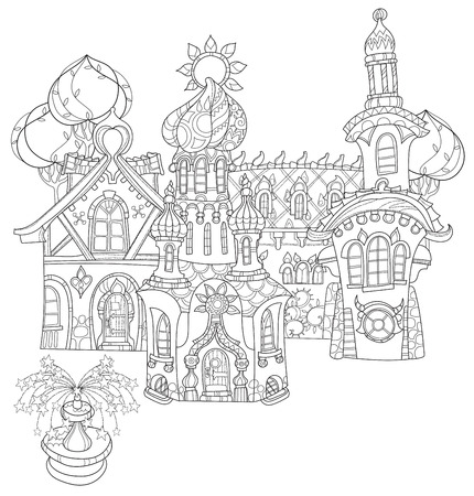 zen vector: Vector cute fairy tale town doodle.Vector line illustration.Sketch for postcard, print or coloring adult book.Boho zen art style. Illustration