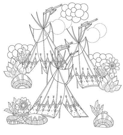 wigwam: Vector cute fairy wigwam doodle isolated.Vector line illustration.Sketch for postcard, print or coloring anti stress adult book.Boho zen art style.