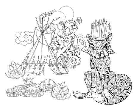 wigwam: Vector cute fairy wigwam and fox doodle isolated.Vector line illustration.Sketch for postcard, print or coloring anti stress adult book.Boho zen art style.