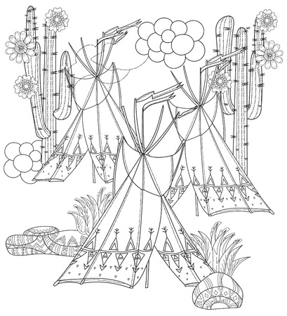 wigwam: Vector cute fairy wigwam and cactus doodle isolated.Vector line illustration.Sketch for postcard, print or coloring anti stress adult book.Boho zen art style.
