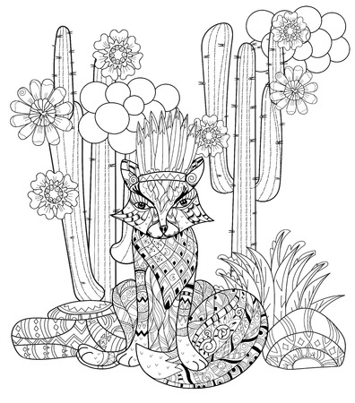 wigwam: Vector cute fairy wigwam anf fox in cactus doodle isolated.Vector line illustration.Sketch for postcard, print or coloring anti stress adult book.Boho zen art style.