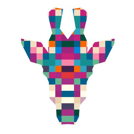 animal head giraffe: Animal head giraffe triangular pixel icon , geometric trendy line design. Vector illustration ready for tattoo or poster. Animal Africa - giraffe. Illustration