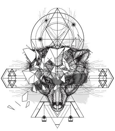 cabeza de oso Animal icono triangular, diseño indio línea de moda geométrica. Ilustración del vector lista para el tatuaje o libro para colorear. Cabeza de lobo bajo poli mano boceto dibujado Ilustración de vector