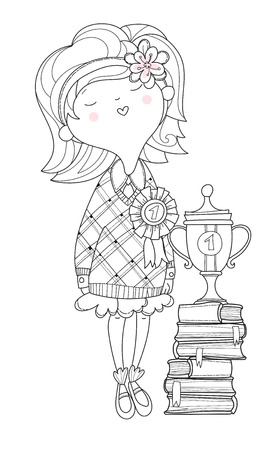 charmed: The nice girl the schoolgirl the winner of a school competition with an award a cup and books.Vector line illustration.Sketch for postcard or print .Hand drawn boho free style doodle.
