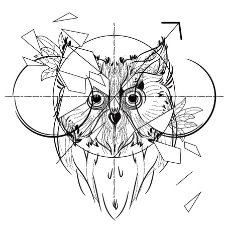 Bird owl head triangular icon , geometric trendy line design. Vector illustration ready for tattoo or coloring book. Low-poly sketch hand drawn