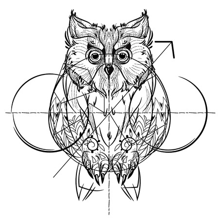 eagle owl: Bird front view , geometric trendy line design. Vector illustration ready for tattoo or coloring book. Wild eagle owl low-poly sketch hand drawn Illustration