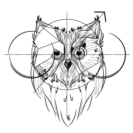 eagle owl: Bird head triangular icon , geometric trendy line design. Vector illustration ready for tattoo or coloring book. Wild eagle owl low-poly sketch hand drawn