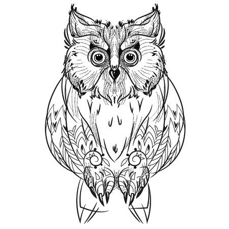 Vogel Hand gezeichnet, Boho-Stil Line-Design. Vektor-Illustration bereit für Tätowierung oder Anti-Stress-Malbuch.