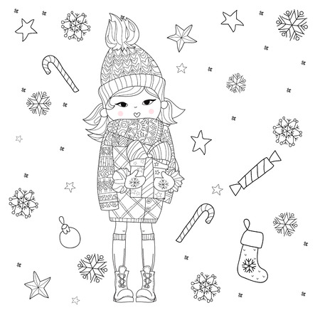 holliday: Vector cute girl in winter hat with christmas gift and pretty holliday doodles.Vector line illustration.Sketch for postcard or print or coloring adult book.Boho zen art style. Illustration