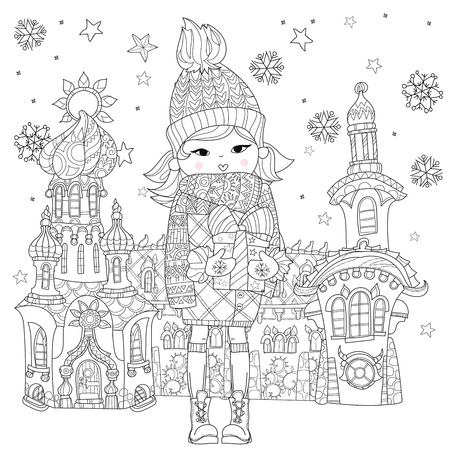 stress woman: Vector cute girl in winter hat with christmas gift in fairy town.Vector line illustration.Sketch for postcard or print or coloring adult book.Boho zen art style.