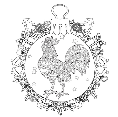 stress ball: Rooster,Cock in christmas glass ball . Symbol of Chinese new year zodiac 2017. Hand drawn doodle zen art.Adult anti stress coloring book or tattoo