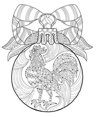 stress ball: Rooster,Cock in christmas glass ball. Symbol of Chinese new year zodiac 2017. Hand drawn doodle zen art.Adult anti stress coloring book or tattoo