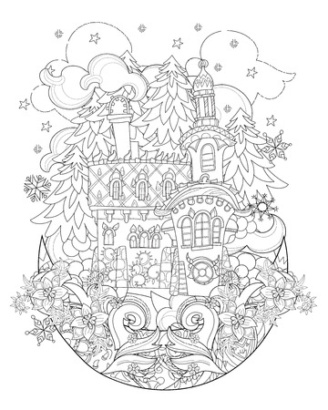 christmas fairy: Vector cute christmas fairy tale town doodle on moon.Hand drawn line illustration.Sketch for postcard or print or coloring anti stress adult book.Boho zen art style.