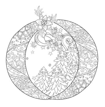 tree line: Vector cute winter landscape in christmas fir tree ball.Hand drawn line illustration.Sketch for postcard or print or coloring adult anti stress book.Boho zen art style.