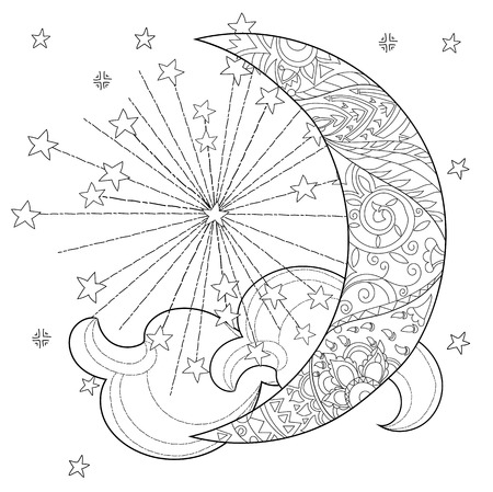Christmas half moon with stars . Hand drawn doodle zen art.Adult anti stress coloring book or tattoo boho style.
