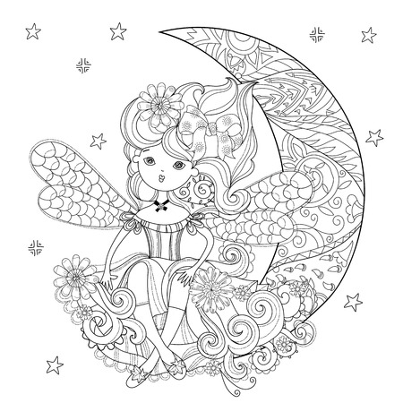 charmed: Vector cute fairy girl in flowers on christmas half moon..Vector line illustration.Sketch for postcard or print or coloring adult anti stress book.Boho zen art style doodle.
