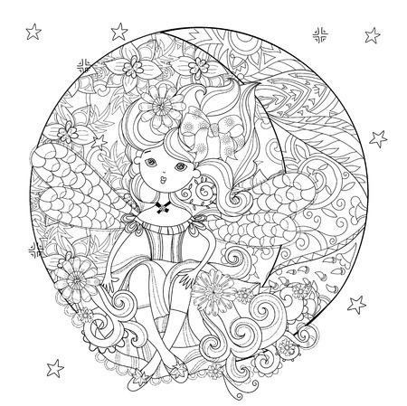Vector linda chica hada en las flores en la mitad de la Navidad línea de moon..Vector illustration.Sketch para tarjeta postal o de impresión o coloración adulta contra el estrés book.Boho doodle del estilo del arte zen.