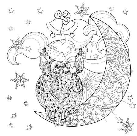 Cute owl on christmas half moon with stars and flowers. Hand drawn doodle zen art.Adult anti stress coloring book or tattoo boho style.
