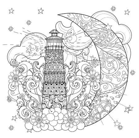 Cute lighthouse on christmas half moon with stars and flowers. Hand drawn doodle zen art.Adult anti stress coloring book or tattoo boho style. Illustration