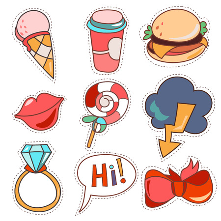 hi back: Set cartoon patch badges or fashion pin badges. Candy, cloud, cup, cloud, ring, lips, ribbon, ice cream,burger, hi hand drawn vector full color sketch Illustration