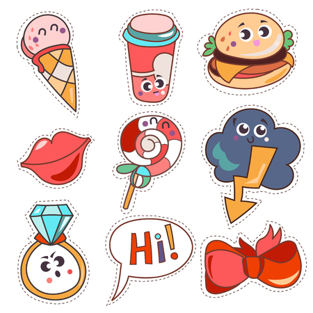 Set cartoon patch badges or fashion pin badges. Candy, cloud, cup, cloud, ring, lips, ribbon,ice cream, burger, hi hand drawn vector full color sketch