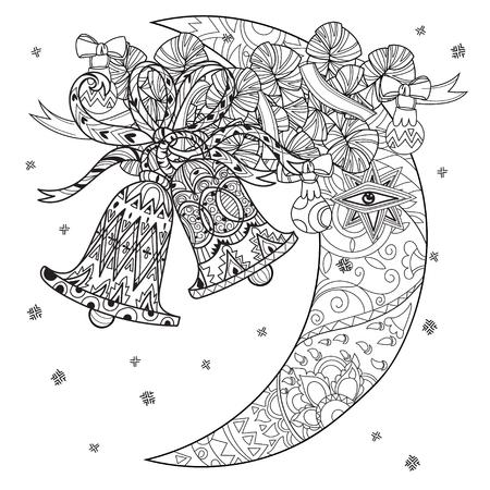 Vector niedliche Fee Weihnachtsglocken und die Hälfte moon.Hand gezeichnete Linie illustration.Sketch für Postkarte oder Druck oder Färbung erwachsenen Anti-Stress-book.Boho zen-Art-Stil kritzeln.