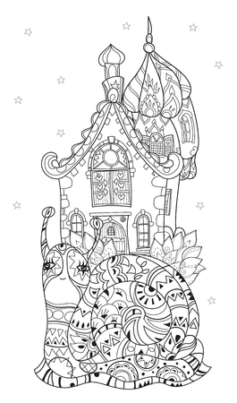 zoo dry: Zen art stylized snail with fairy house. Hand Drawn vector illustration. Sketch for tattoo or makhenda or adult anti stress coloring. Boho doodle style.
