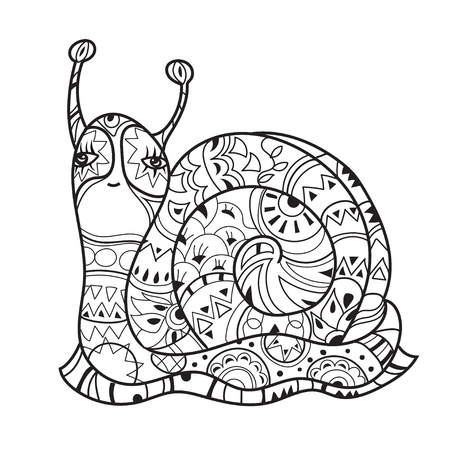 zoo dry: Zen art stylized snail. Hand Drawn vector illustration. Sketch for tattoo or makhenda or adult anti stress coloring. Boho doodle style. Illustration