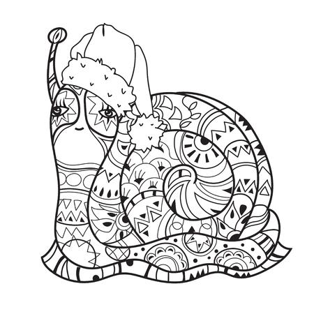 Arte Zen Estilizado Caracol En Sombrero De La Navidad. Dibujados A ...