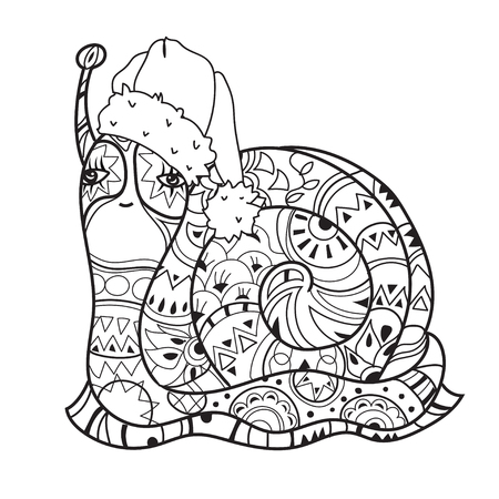 zoo dry: Zen art stylized snail in christmas hat. Hand Drawn vector illustration. Sketch for tattoo or makhenda or adult anti stress coloring. Boho doodle style.